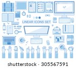 vector linear workplace icons... | Shutterstock .eps vector #305567591