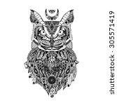 Detailed Owl In Aztec Style...