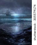 Ghost Ship.illustration Of A...
