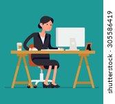 cool vector flat character... | Shutterstock .eps vector #305586419