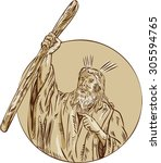 etching engraving handmade... | Shutterstock . vector #305594765