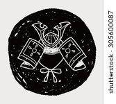 samurai helmet doodle | Shutterstock .eps vector #305600087