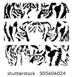 tigers eye silhouette  vector... | Shutterstock .eps vector #305606024