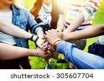 team teamwork relation together ... | Shutterstock . vector #305607704
