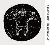 mexican wrestler doodle | Shutterstock .eps vector #305608451