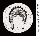 indians hat doodle | Shutterstock .eps vector #305610179