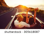 happy couple driving on country ... | Shutterstock . vector #305618087