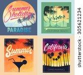 set of summer hand lettered... | Shutterstock .eps vector #305621234