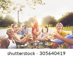 diverse neighbors drinking... | Shutterstock . vector #305640419
