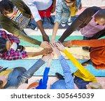 team corporate teamwork... | Shutterstock . vector #305645039
