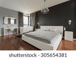 big comfortable double bed in... | Shutterstock . vector #305654381