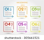 colorful linear square timeline ... | Shutterstock .eps vector #305661521