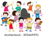 children enjoying it at a music ... | Shutterstock .eps vector #305669591