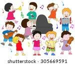 children enjoying it at a music ... | Shutterstock .eps vector #305669591