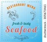 food and seafood menu  with... | Shutterstock .eps vector #305673461