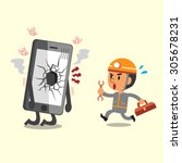 cartoon technician and broken... | Shutterstock .eps vector #305678231