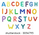 Colorful Alphabet made from plasticine (isolated on white). Use it to make your own message. - stock photo