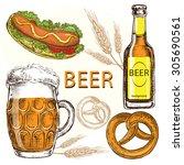 hand draw illustration beer... | Shutterstock .eps vector #305690561