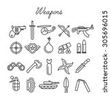 weapons icon set in modern... | Shutterstock .eps vector #305696015