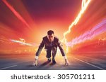 young determined businessman... | Shutterstock . vector #305701211