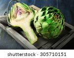 Artichokes On Tray  On Color...