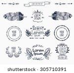 vector set of floral logo... | Shutterstock .eps vector #305710391