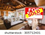sold house sign  | Shutterstock . vector #305712431