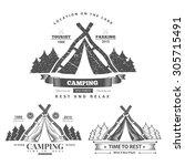 retro vector vintage camp label ... | Shutterstock .eps vector #305715491
