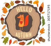 vector autumn card with wreath... | Shutterstock .eps vector #305717195