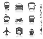 simple transport icons set.... | Shutterstock .eps vector #305725385