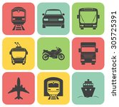 simple transport icons set.... | Shutterstock .eps vector #305725391