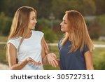 two happy beautiful girls in... | Shutterstock . vector #305727311