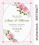 vector vintage card with pink... | Shutterstock .eps vector #305730677