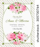 vector vintage card with pink... | Shutterstock .eps vector #305730764