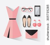 woman clothing set with dress ... | Shutterstock .eps vector #305735285