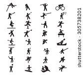 sports athletics icon set | Shutterstock .eps vector #305738201