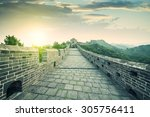 the majestic great wall ... | Shutterstock . vector #305756411