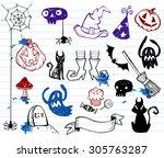 halloween doodle set vector... | Shutterstock .eps vector #305763287