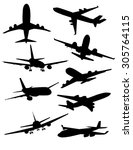 airplanes silhouette set | Shutterstock .eps vector #305764115
