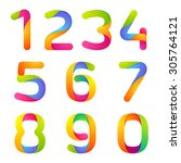 colorful numbers set. vector... | Shutterstock .eps vector #305764121