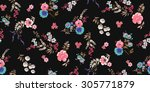 seamless floral pattern | Shutterstock .eps vector #305771879