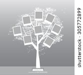 hand drawn oak tree. family... | Shutterstock . vector #305772899