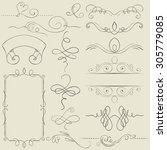 set. frames and borders. hand...   Shutterstock . vector #305779085