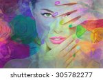 beauty portrait  colorful... | Shutterstock . vector #305782277