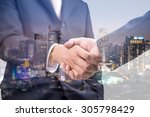 double exposure of handshake... | Shutterstock . vector #305798429