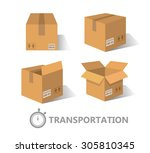 flat boxes icons set.  | Shutterstock . vector #305810345