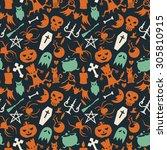 halloween seamless vector... | Shutterstock .eps vector #305810915