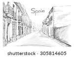 spain town  vector illustration ... | Shutterstock .eps vector #305814605