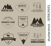 set of camping and outdoor... | Shutterstock .eps vector #305819051
