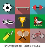 set of sport icons in flat... | Shutterstock .eps vector #305844161
